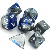 Blue & Steel Gemini Polyhedral 7 Dice Set